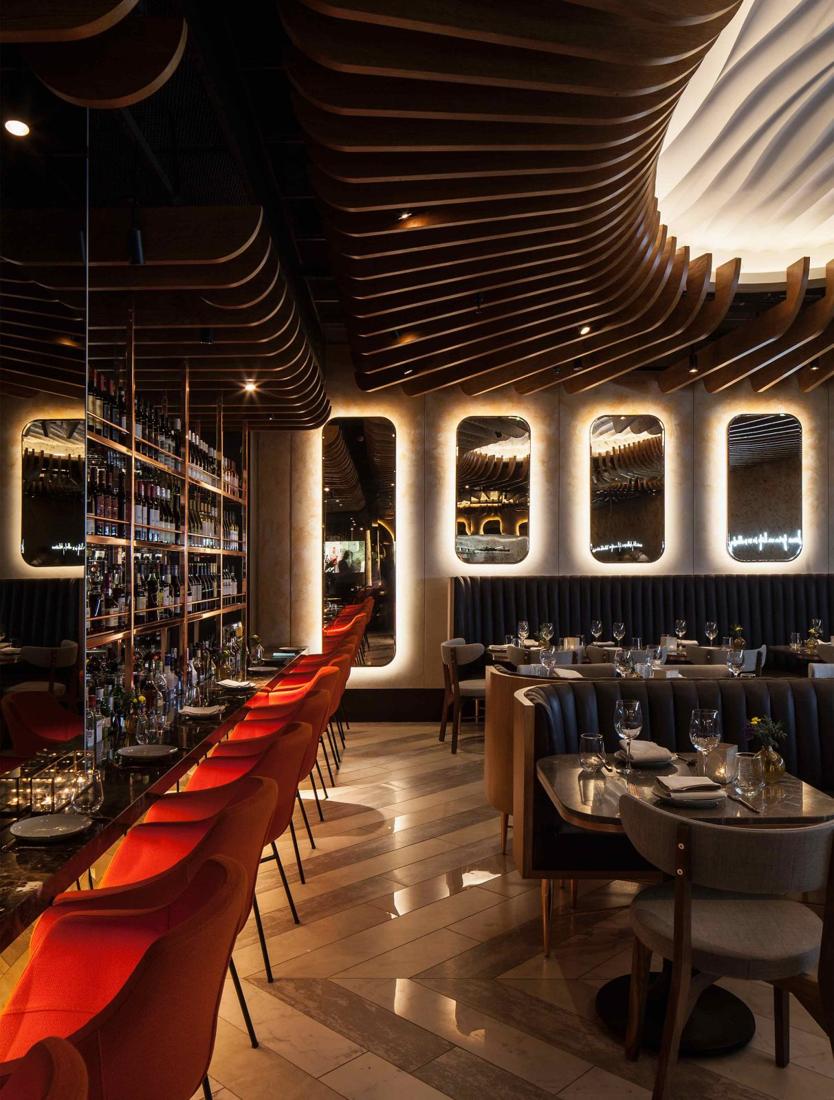 Dramatic Simple Lighting Scheme Feature Ceiling Halo Mirrors Restaurant Dark Wooden Interior Studio N