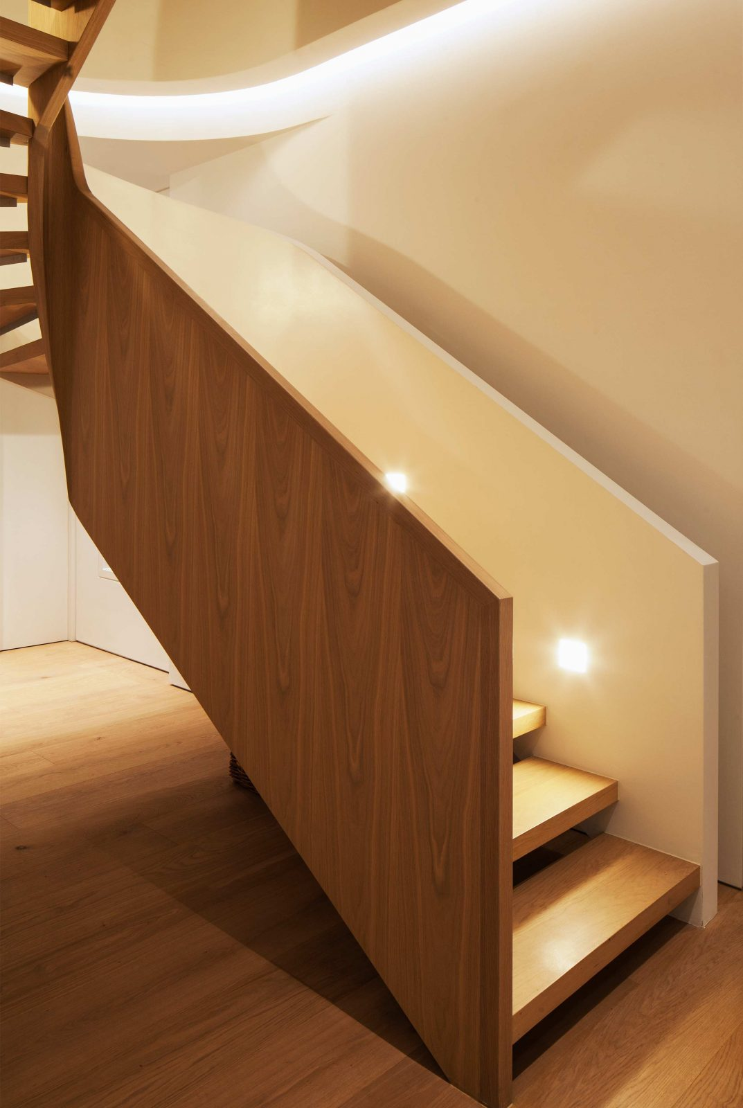 Integrated Lighting Design Contemporary Chic Wooden Curved Staircase Studio N