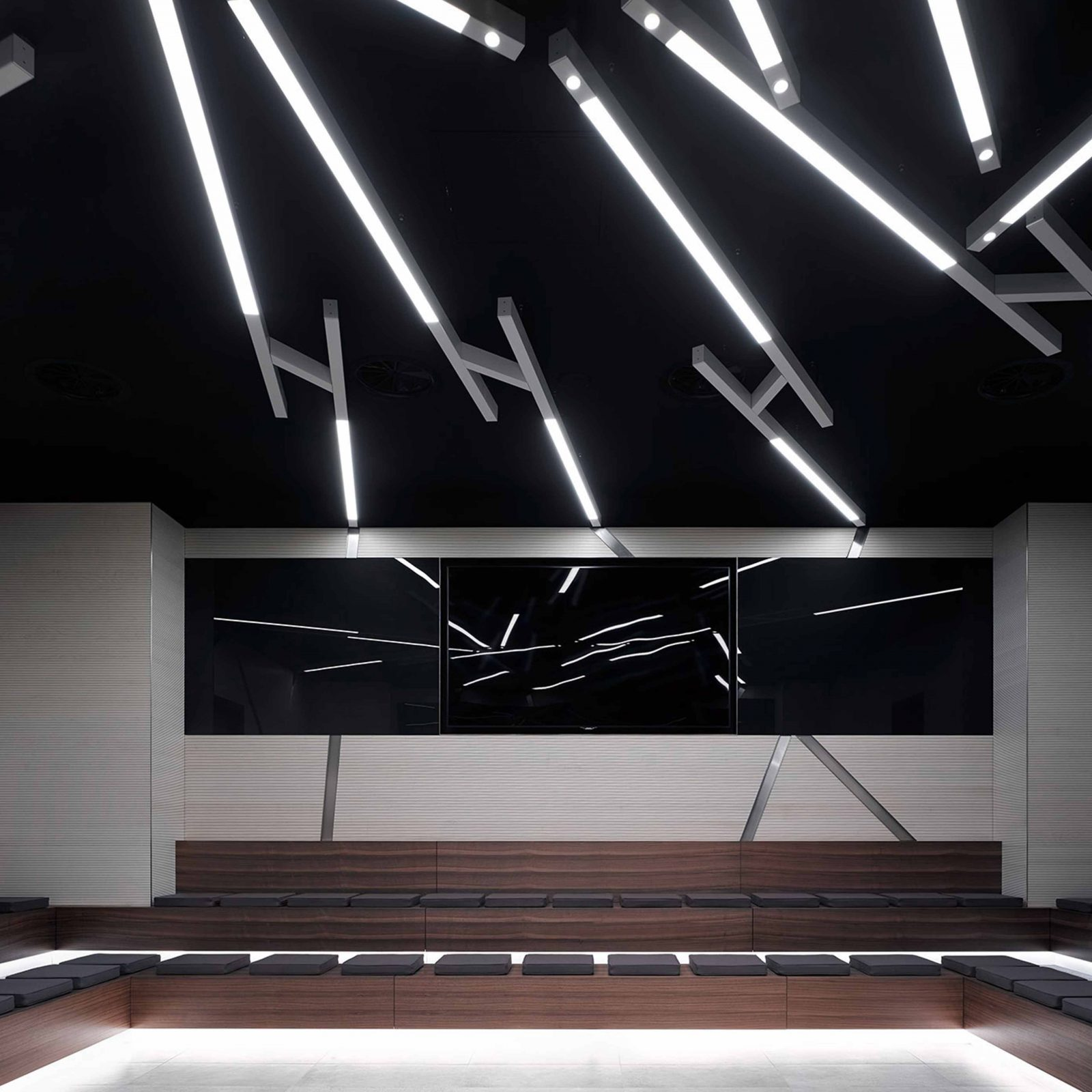 Feature Black Ceiling Lighting Design Workplace Auditorium Studio N