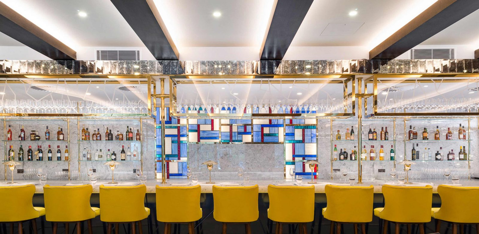 Lighting Solution Stylish Classic Restaurant Bar Mondrian Feature Yellow Seating Studio N