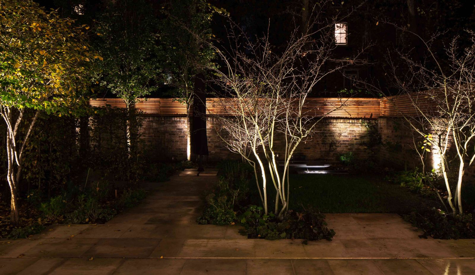 Garden Lighting Design Brick Wood Walls Planting Foliage Consultants Studio N