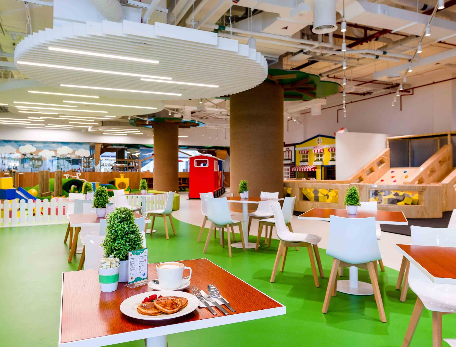 Cafe Lighting Casual Colourful Interior Dropped Circular Slatted Ceiling Linear Lights Designer Studio N