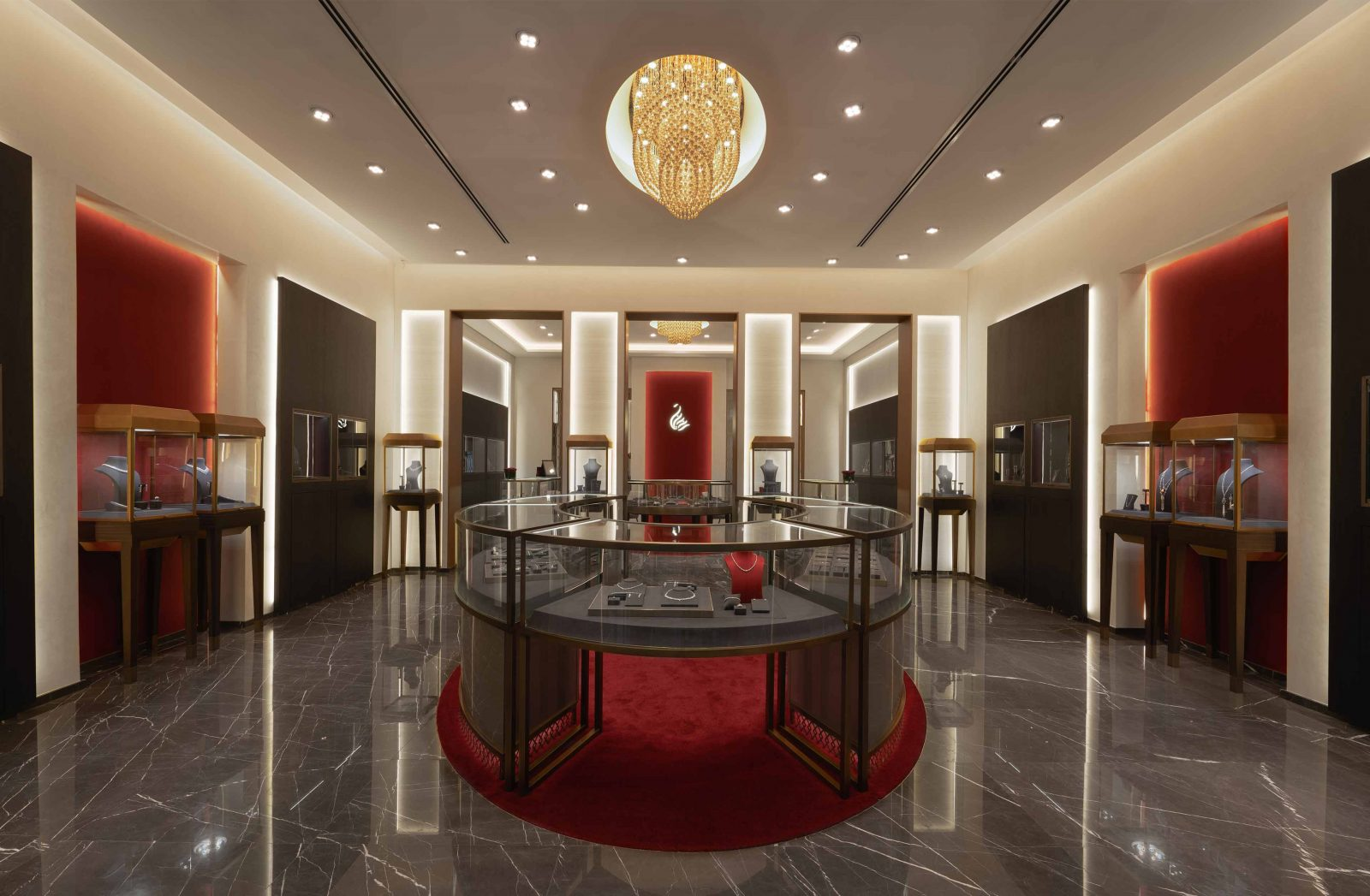 Architectural Lighting Design Luxury Retail Red Brown Interior Jewellery Store Integrated Illumination Ceiling Walls Merchandise Cases Counters Studio N