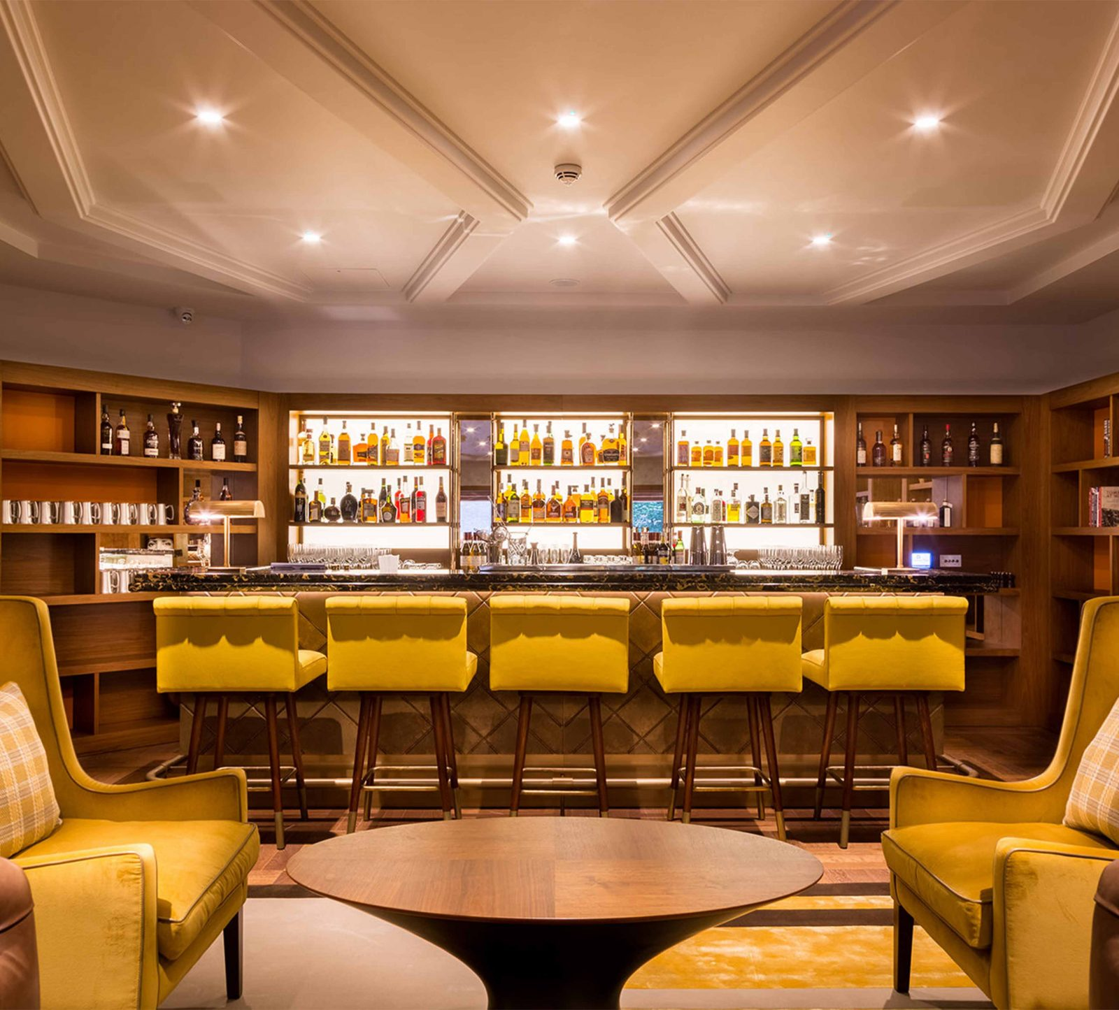Lighting Solution Elegant Bar Cornice Ceiling Detail Yellow Soft Furnishings Studio N