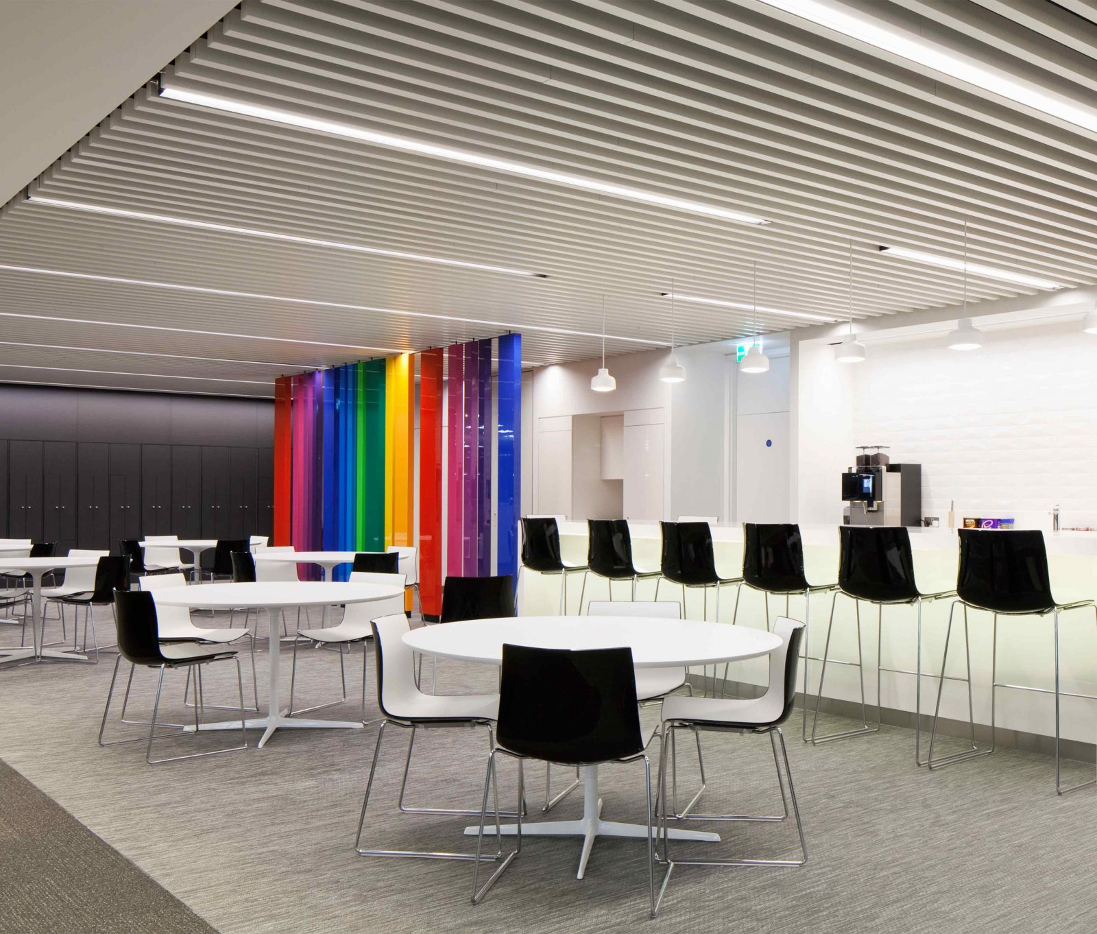 Commercial Office Breakout Area Minimal Interior Design Colourful Partition Lighting Studio N