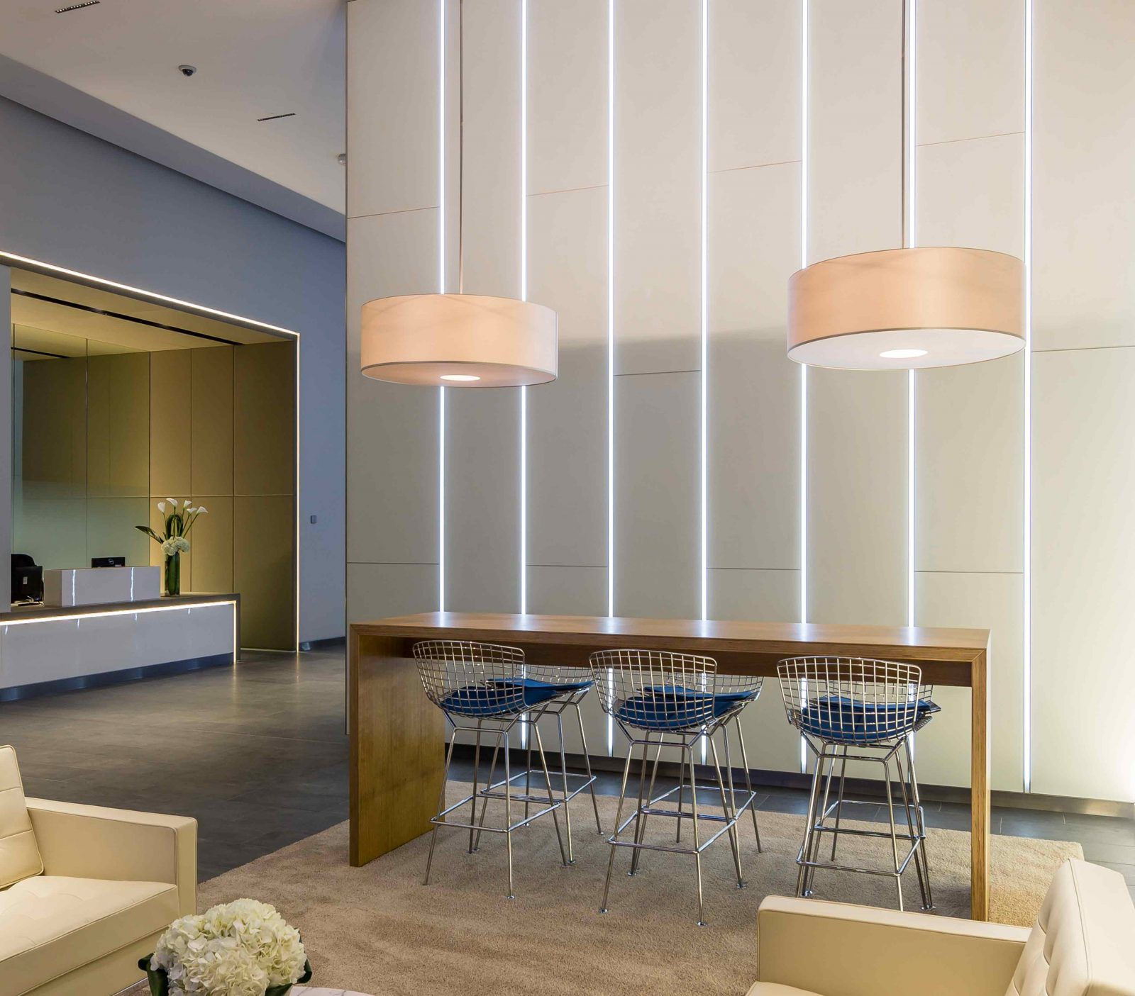 Office Reception Area Vertical Stripe Wall Lighting Feature Pendants Studio N