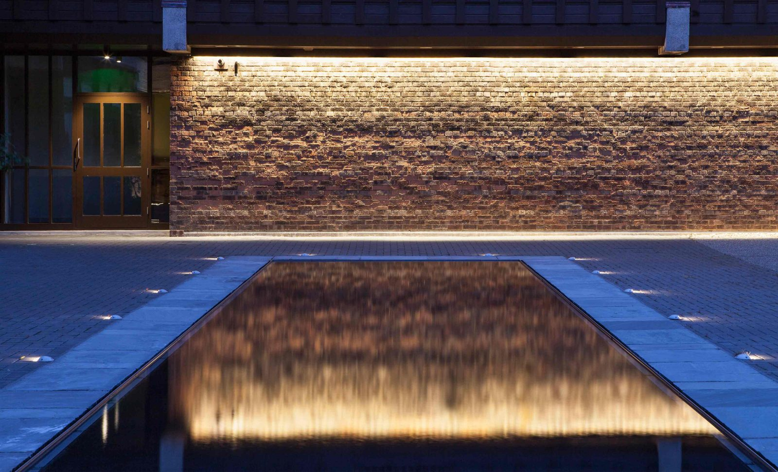 Exterior Lighting Design Residential Grounds Illuminated Brickwork Wall Pool Studio N