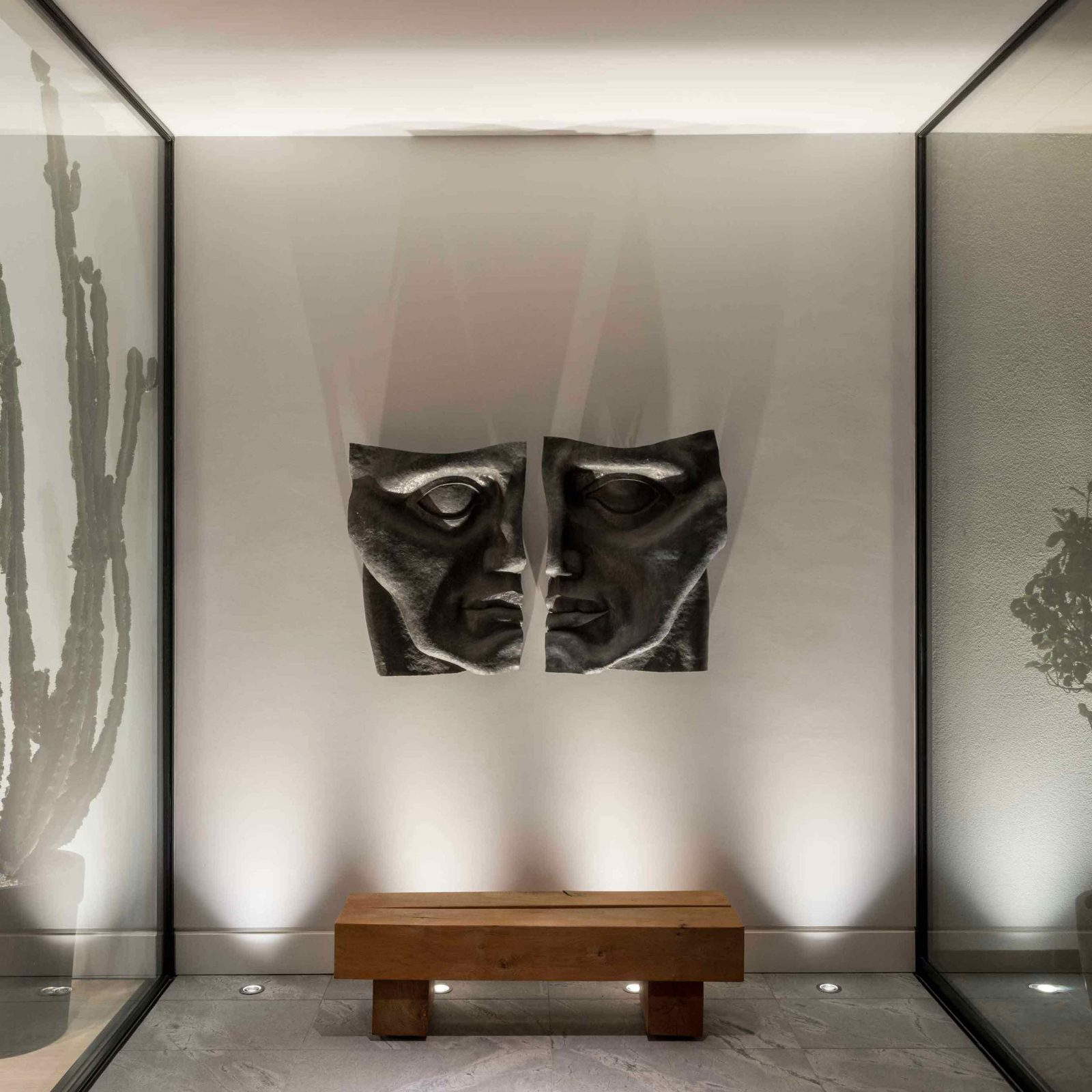 Architectural Lighting Design Residential Entrance Uplighting Artwork Glass Walls Studio N