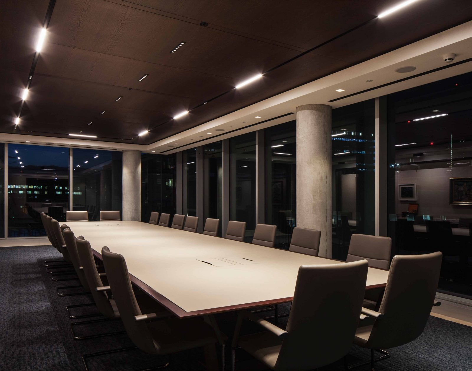 Lighting Scheme Workplace Boardroom Contemporary Interior Design Glass Windows Studio N