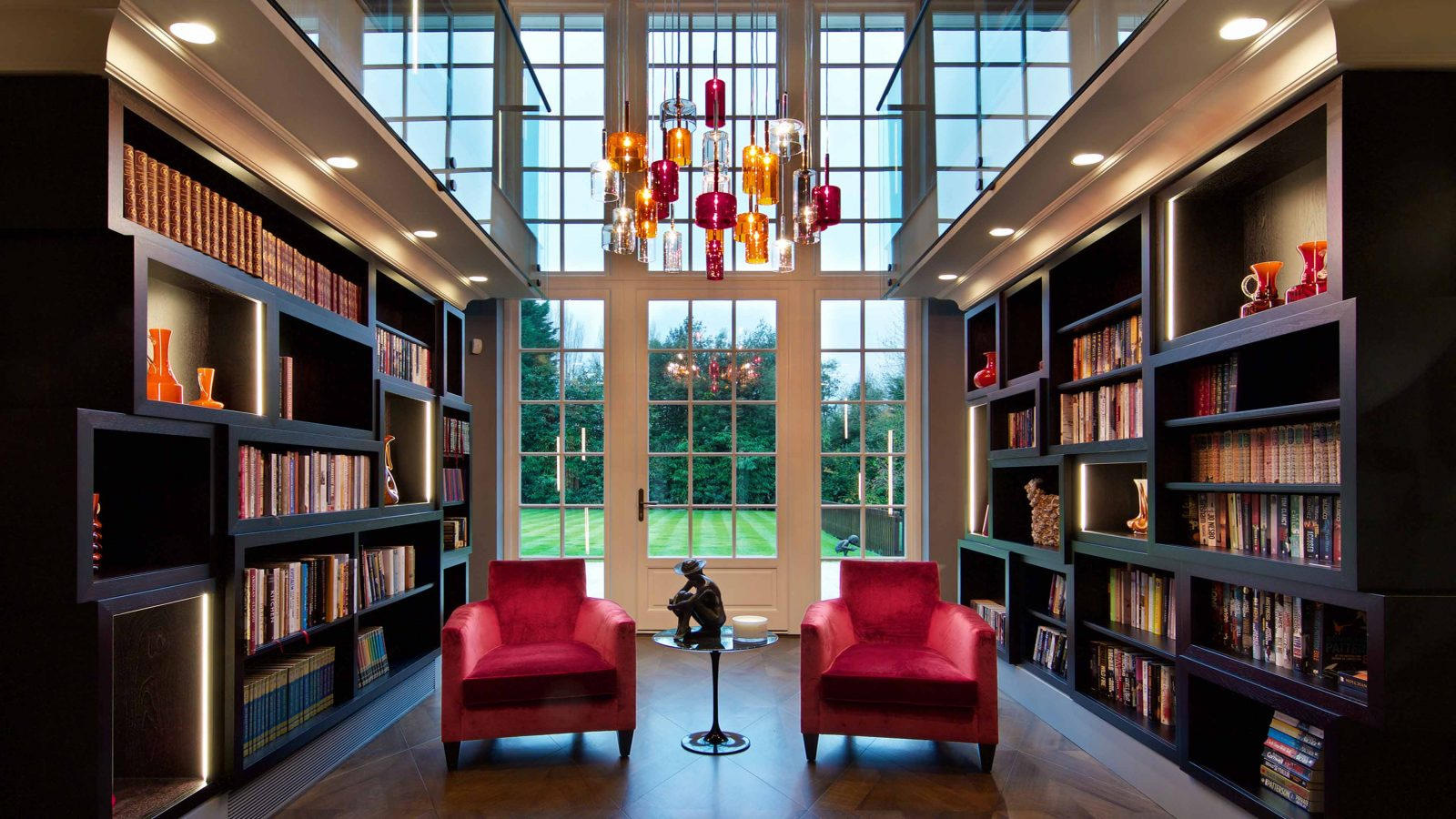 Residential Lighting Design Grand Atrium Space Bookshelves Pendant Windows Consultants Studio N