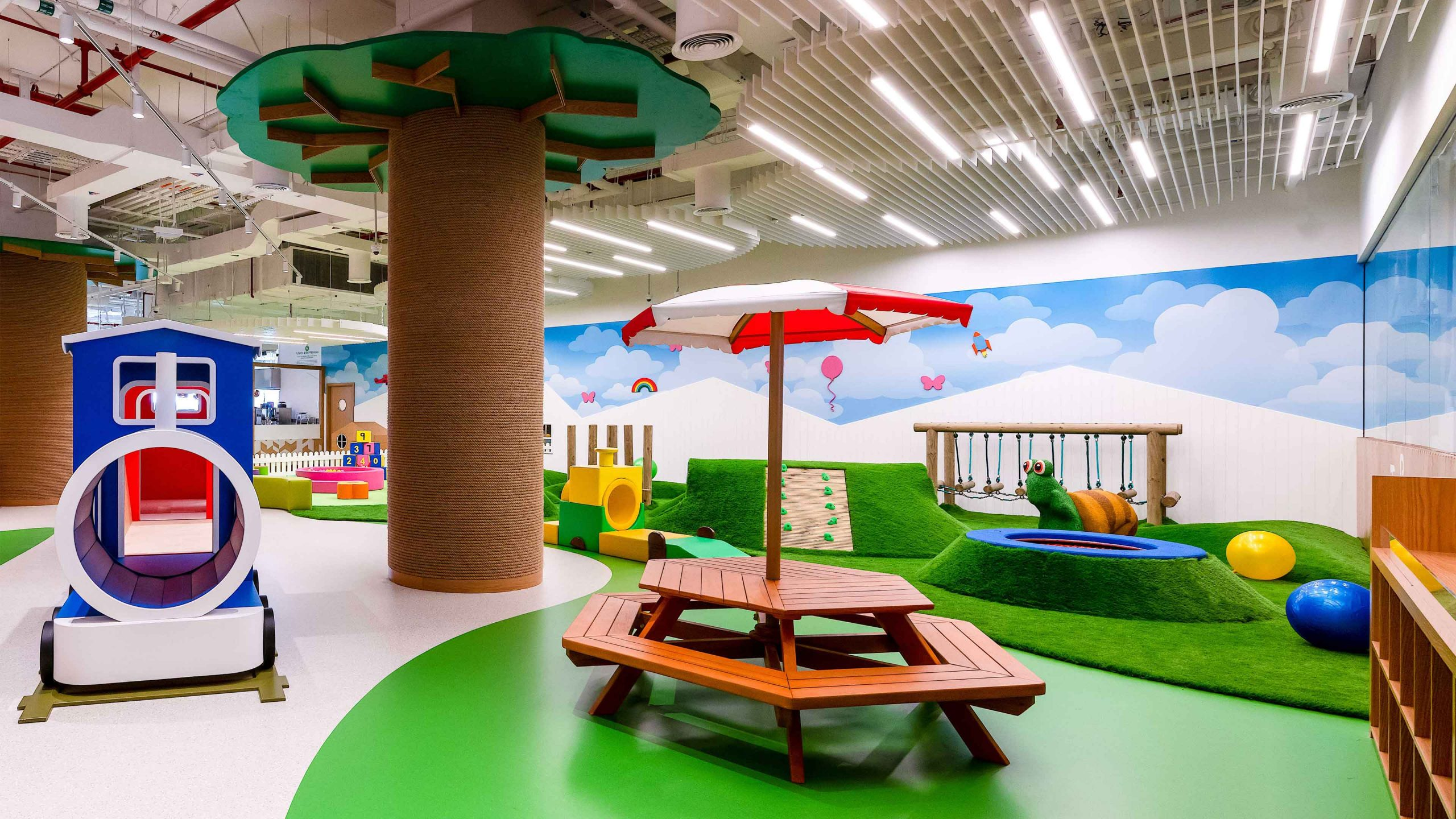 Lighting Design Children's Indoor Play Park Vibrant Fun Interior Feature Linear Ceiling Lights Designers Studio N
