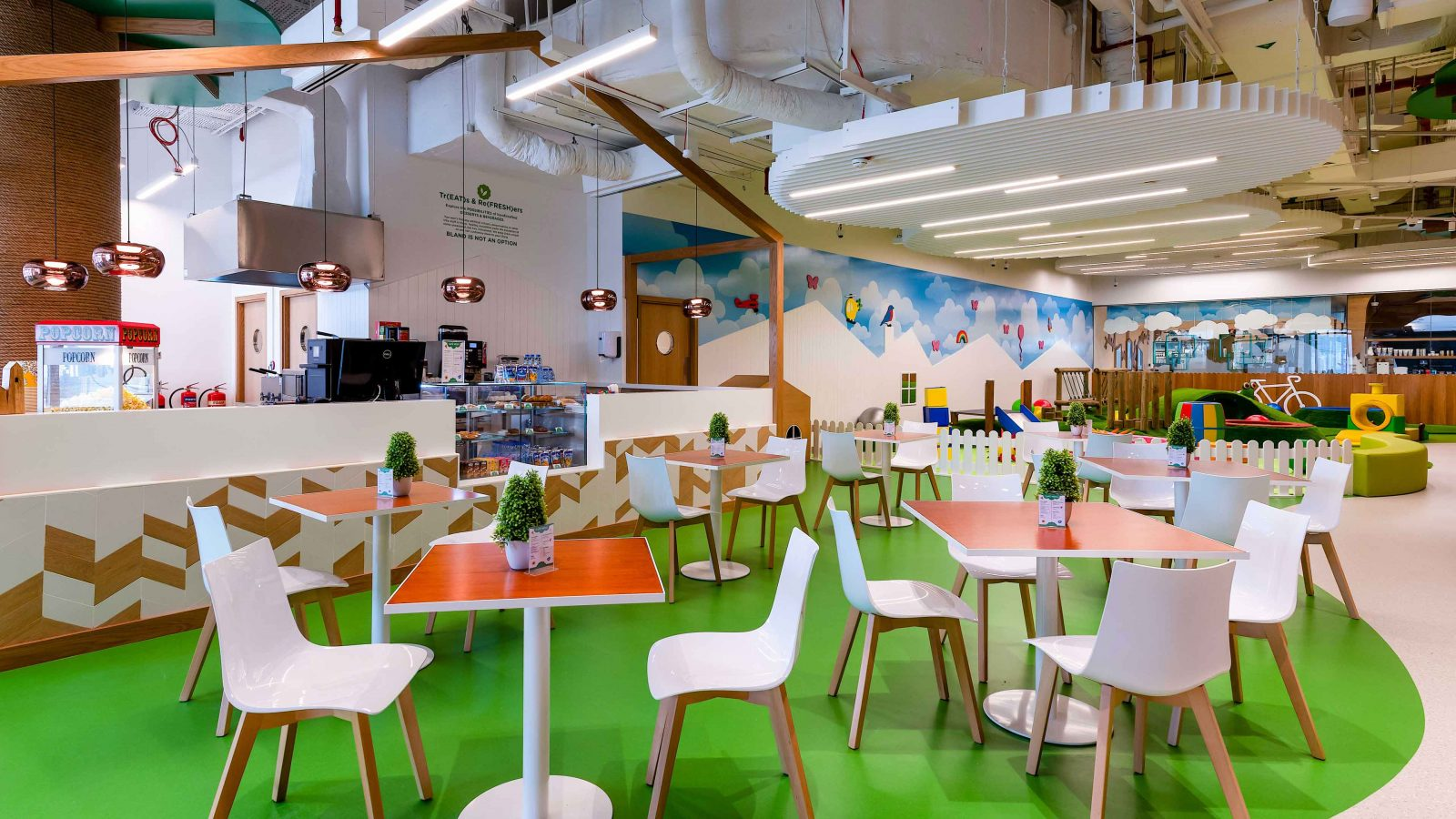 Architectural Lighting Design Indoor Children's Playground Cafe Feature Pendants Linear Ceiling Lights Fun Colourful Interior Studio N