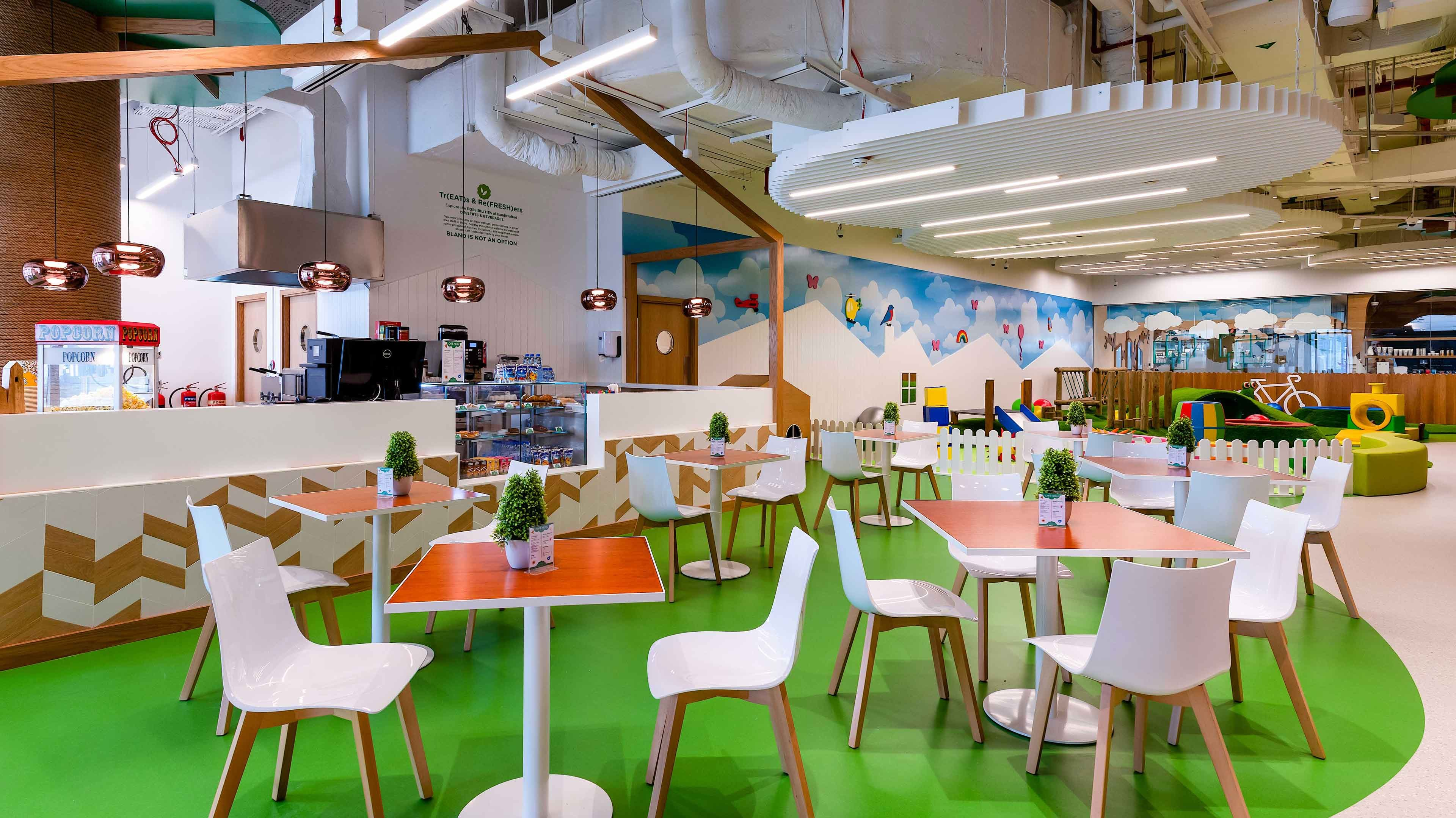 Architectural Lighting Design Indoor Children's Playground Cafe Feature Pendants Slotted Linear Ceiling Lights Fun Colourful Interior Studio N
