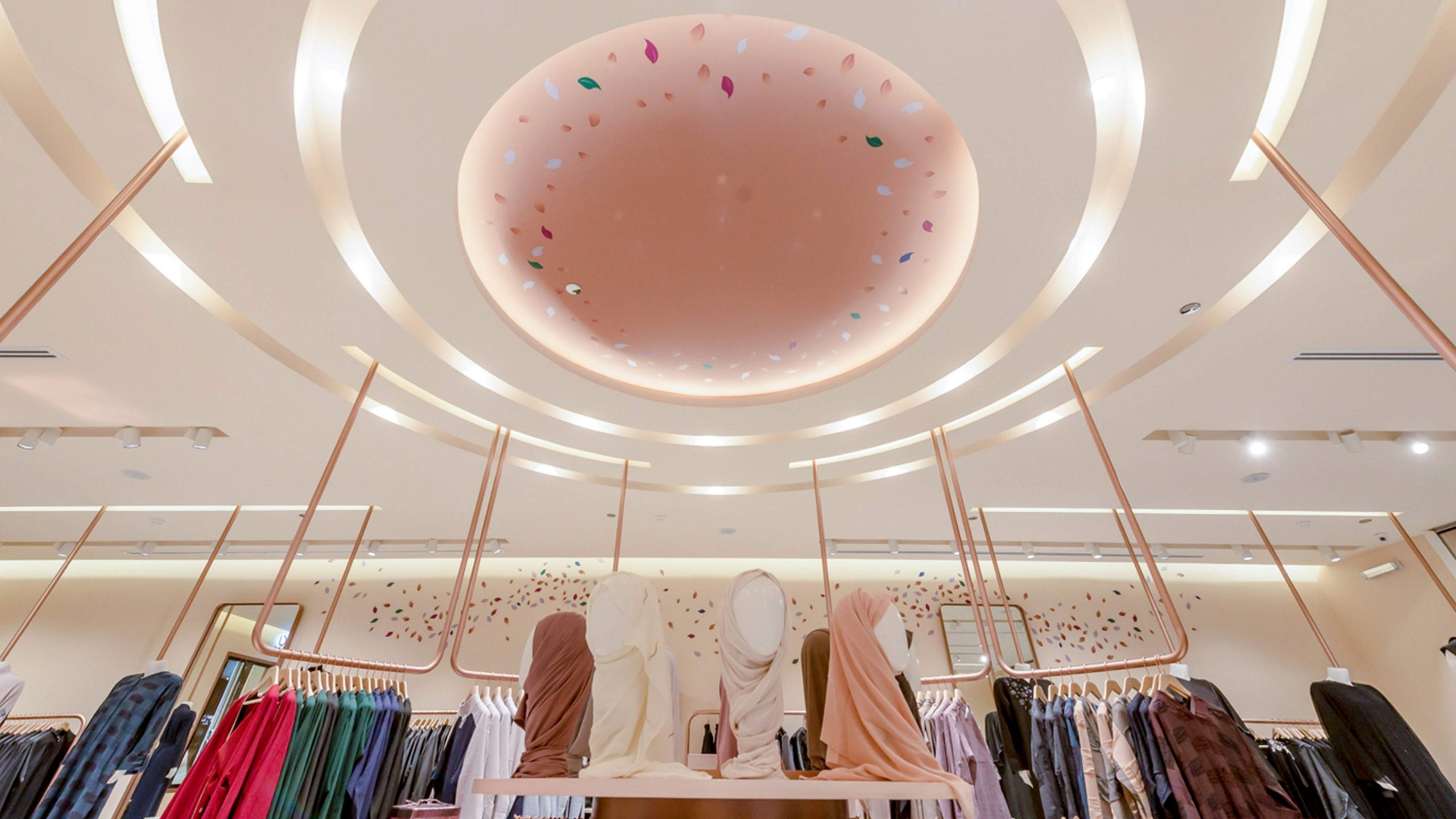 Architectural Lighting Design Contemporary Retail Store Concentric Illuminated Ceiling Feature Moda by Nayomi Store Jeddah Consultants Studio N