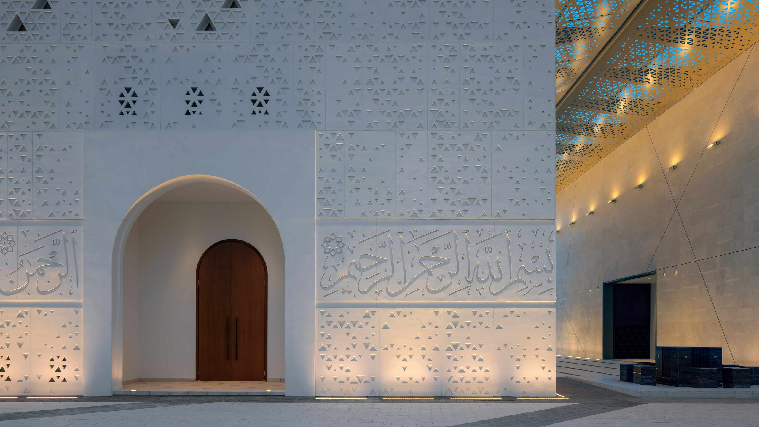 Lighting Design Solution Contemporary Mosque Exterior White Stone Facade Geometric Shapes Calligraphy Consultants Studio N