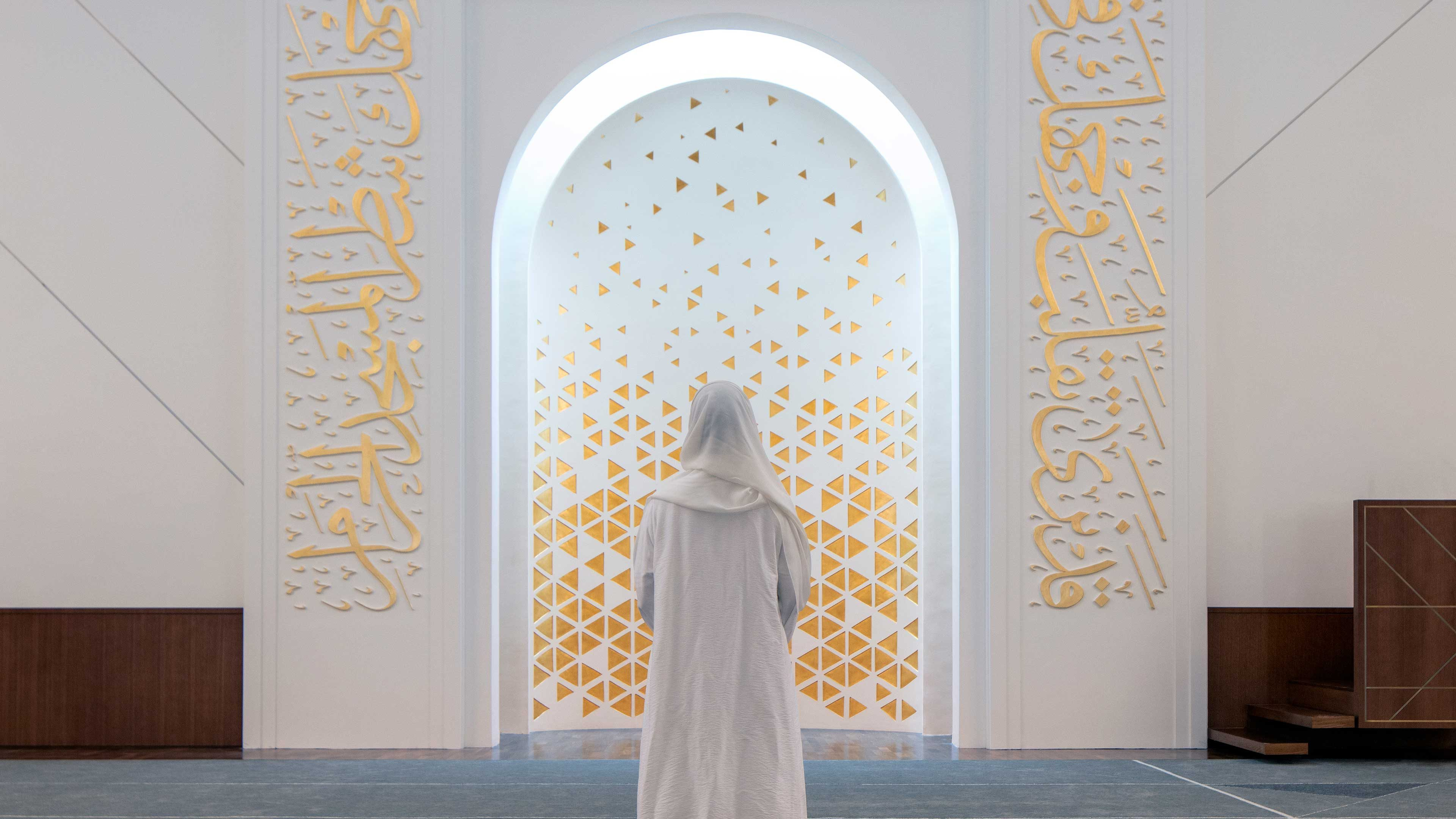 Architectural Lighting Contemporary Mosque Softly Illuminated Mihrab Design Consultants